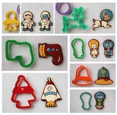 robots, aliens, ray-guns, astronauts - all easily made from Christmas cookie cutters. Man Cookies, Cookies For Kids, Cut Out Cookies, Iced Cookies, Cute Cookies, Royal Icing Cookies, Cupcake Cookies, Sugar Cookies, Cupcakes