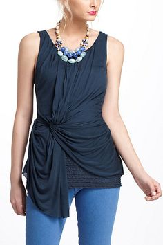 Lace-Layered Ruched Tank - Anthropologie.com