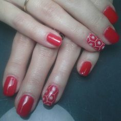 Gel polish manicure with holiday nail art
