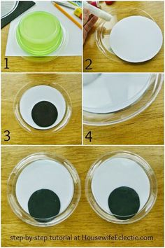 """Monster activities: Easy DIY Dollar Store Super-Jumbo Googly Eyes.  Perfect for Halloween """"monster"""" fun!  She made these out of clear plastic plates from The Dollar store, plus paper!"""