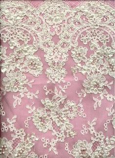 """$119 per yard. HouseFabric. Re-embroidered ivory Alencon lace with pearl beads and French crystal clear sequins. 34""""."""