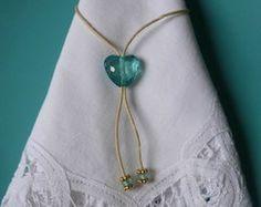 Porta guardanapo coração azul