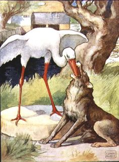 """""""The Wolf and the Crane"""" from Aesop's Fables - John Edwin Noble"""