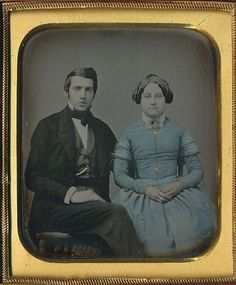 "Daguerreotype. Blue tinted dress. And her husband, who should be on the ""My Daguerreotype Boyfriend"" site."