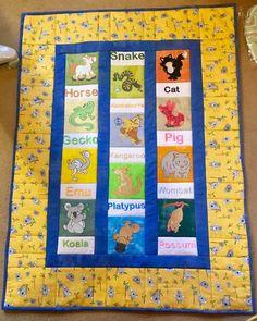 Elizabeth made this fabulous Australian animals quilt using designs from Aussie Animals (https://www.bunnycup.com/embroidery/design/AussieAnimals), Farmyard Applique (https://www.bunnycup.com/embroidery/design/FarmyardApplique) and Giddy Up (https://www.bunnycup.com/embroidery/design/GiddyUp).
