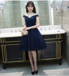 Navy Prom Dress,Tulle Prom Dress,Short Homecoming Dress,Elegant Homecoming Dresses,Prom Gown by fancygirldress, $136.00 USD