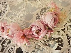 Antique roses and angel | | - Flower Headband S (pink) of the British and French antique Eglantyne (Egurantinu)