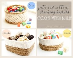 Three jute and cotton crochet basket designs at a huge discount!  Use coupon code PINUND20 for additional 25% off an already discounted bundle.