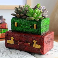 Creative Resin Luggage Valise Flower Pot Succulent Plants Pot Vintage Suitcase Flowerpot Home Garden Decoration Bonsai Planter by MsDIYSupplies on Etsy