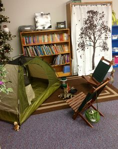 My library station in my camping theme classroom.