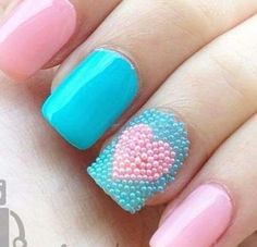 Light blue and pink mani
