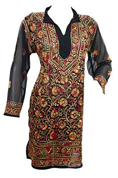 Designer Long Tunic- Black Floral Embroidered Georgette Hippy Dress M Mogul Interior http://www.amazon.com/dp/B01D66NMQI/ref=cm_sw_r_pi_dp_Jn77wb1DNNVTA
