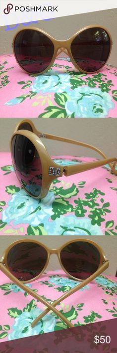 """Dolce and Gabbana sunglasses """"Authentic"""" Tan bubble lens sunglasses with rhinestone DG one both sides. They are in great condition! They come with the case and paperwork. They have a serial number on the arm! Dolce & Gabbana Accessories Glasses"""