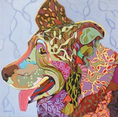 abstracted expressionistic dog painting by Carolee Clark