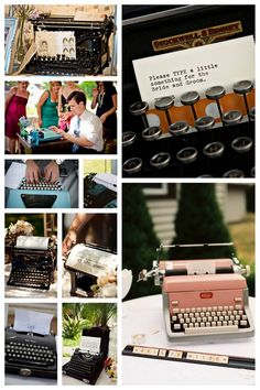 Have guests sign in/write a short note with a typewriter. Of course this means you'd have to find a typewriter...