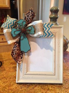 Cream & Turquoise Wooden Cross Embellished with Ribbons 8 x 10 Picture Frame that holds a 5 x 7 photo. Cute Crafts, Crafts To Sell, Diy And Crafts, Picture Frame Crafts, Picture Frames, Picture Boards, Craft Gifts, Diy Gifts, Burlap Cross