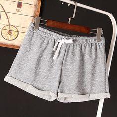 Summer Women Elastic Waist Tunic Drawstring Beach Sport Pocket Cuffs Casual Shorts