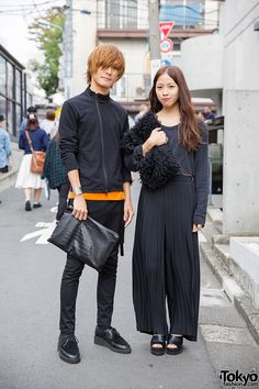 [Fashionable Duo in Harajuku] Right: Kanami, Black Crop Top: Thank-You Mart, Resale Wide Leg Pants: Santa Monica, Faux-fur Clutch: i tokyo me, Peep Toe Heels: Jeanasis. Left: Kento, Jacket, Jeans & Leather Shoe: Lad Musician, Clutch: Christian Dada.