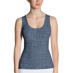 "Blue 1 Denim Print Tank Top This body hugging tank top is a must have!    • Imported fabric: 82% polyester/18% spandex  • Material has a four-way stretch, which means fabric stretches and recovers on the cross and lengthwise grains.  • Made with a smooth, comfortable microfiber yarn • Precision-cut and hand-sewn after printing Model wears size S Model's height: 5'10""/177 cm Size guide      XS S M L XL   Bust (inches)  32 34 37 42 44   Waist (in"