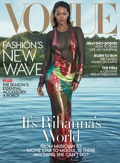 Rihanna covers the April 2016 cover of Vogue.Mert Alas and Marcus Piggott for Vogue. It's Rihanna again on the cover of VOGUE for t. Vogue Covers, Vogue Magazine Covers, Fashion Magazine Cover, Fashion Cover, Rihanna Vogue, Rihanna Cover, Rihanna Style, Rihanna Fenty, Rihanna Fashion