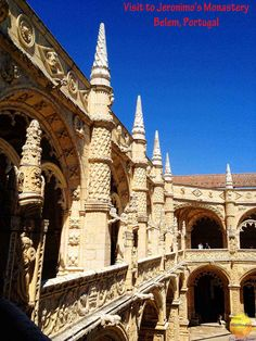 Jeronimos Monastery Belem Portugal is a UNESCO world heritage site with tombs of famous Portuguese explorers and royalty. Gothic Manueline architecture