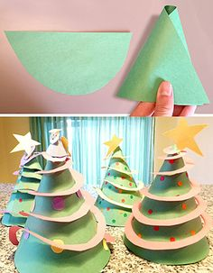 Discount School Supply - Cone Christmas Trees -http://bit.ly/1MfUDAY  An Activity for Preschoolers: These 3-D Christmas trees are a fun and easy way to celebrate the holidays! Goals: To create a winter holiday craft To create a three-dimensional artwork To decorate and experiment creatively