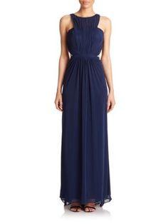 La Femme - Ruched Net Jersey Gown