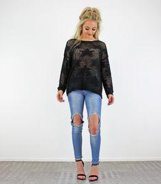 Black Long Sleeve Star Pattern Open Sheer Crochet Jumper
