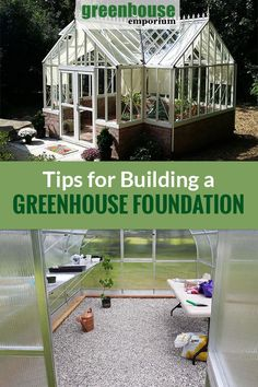 If you want to build a greenhouse in your garden, you need to decide on a proper foundation that suits your needs. It is a crucial step for a long-lasting greenhouse gardening experience. Learn more about the different types of foundations and footers in this beginner's guide! #greenhouseemporium #greenhouses #greenhousekits #diygreenhouse #greenhouseplans #beginnersguides Old Window Greenhouse, Greenhouse Base, Backyard Greenhouse, Greenhouse Plans, Pallet Greenhouse, Homemade Greenhouse, Japanese Garden Design, Vegetable Garden Design, Garden Landscape Design