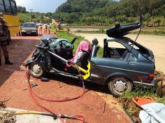 Motorista perde a vida em Rio dos Cedros ao bater contra ônibus escolar