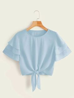 Shop Layered Sleeve Knot Hem Solid Blouse at ROMWE, discover more fashion styles online. Girls Fashion Clothes, Teen Fashion Outfits, Trendy Fashion, Punk Fashion, Lolita Fashion, Fashion Dresses, Crop Top Outfits, Cute Casual Outfits, Summer Outfits