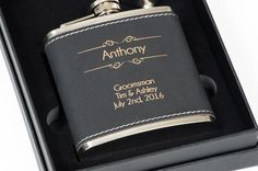 groomsmen gifts The Personalized Gift Co specializes in custom engraved gifts! Personalized flasks, custom knives, cutting boards, pint glasses, and gift boxes, and more! https://www.personalizedgiftco.com/products/personalized-black-leather-flask-custom-engraved-gift-for-him-optional-gift-box