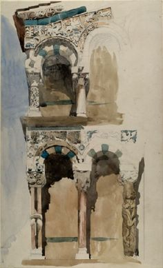 Part of the Façade of the destroyed Church of San Michele in Foro, Lucca I Sir John Ruskin I 1846 Watercolor Architecture, Art And Architecture, Watercolor Sketch, Watercolor Paintings, Watercolours, John Piper Artist, Lucca, Art Sketches, Art Drawings
