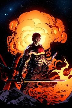 Andy Brase's explosive cover for Bloodshot #2!