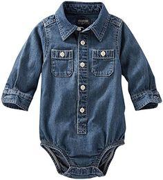 OshKosh B'gosh Baby Boys Woven Bodysuit, Denim, 9 Months