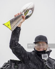 Quarterback Tom Brady of the New England Patriots holds the Vince Lombardi trophy during the Super Bowl victory parade on February 7, 2017 in Boston, Massachusetts. The Patriots defeated the Atlanta Falcons 34-28 in overtime in Super Bowl 51.