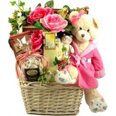 """Beary Special Get Well Wishes w/Recuperate Kate! - This get well basket is beary special indeed! This big and beautiful arrangement features our very adorable, handcrafted """"Recuperate Kate"""" bear, and a collection of delicious comfort foods, all tucked into a bouquet of beautiful lifelike silk flowers! It's absolutely gorgeous!!"""