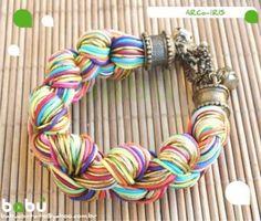 arco-íris (novo modelo) pulseira fio encerado,metal colagem,trançado