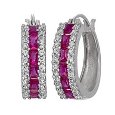 Sterling Silver Lab-Created Ruby and Lab-Created White Sapphire Hoop Earrings, Women's, Red