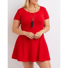 Charlotte Russe Textured Skater Dress ($20) ❤ liked on Polyvore featuring plus size women's fashion, plus size clothing, plus size dresses, red, red flare dress, plus size skater dress, short sleeve dress, skater dress and flare dress