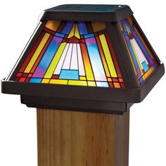 Solar LED Stained-Glass Postcap for 4 x 4 Posts 91241