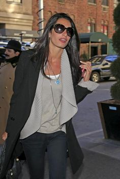 Perfectly simple - black coat, bag and jeans, white tank top, grey cardigan and blouse Amal Alamuddin