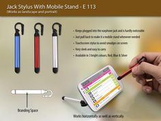 Keeps plugged into the earphone jack and is hardly noticeable.Just pull back to make it a mobile stand whenever needed.Touchscreen stylus to avoid smudges on the screen. Check it out at http://www.pepagora.com