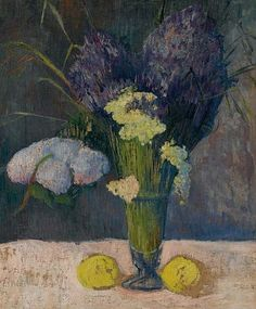 Still Life with Lilac Nature, snowball and lemons - Jacob Meijer de Haan 1889  Dutch 1852-1895  oil on canvas , 65 x 54 cm. (25½ x 21¼ in.)
