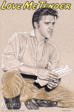 """Just finished the fourth drawing in the movie series, the last one for 2017. """"Elvis in Charcoal #163 - The Movies, no.1, Love me Tender"""". 30 x 20 cm, Charcoal, ink, white chalk and colored pencil on colored paper. Available"""