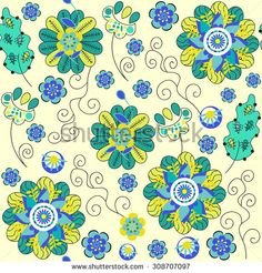#flowers #floral #seamless #pattern #doodle  #flora #fauna #nature #abstract #cartoons #garden #summer #spring #tile #tileable #background #texture #print #textile