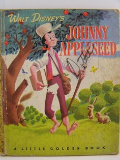 disney vintage | Walt Disney's Johnny Appleseed, 1949 vintage Little Golden book