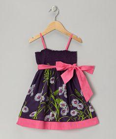 Look at this #zulilyfind! Purple Floral Shirred Dress - Toddler & Girls #zulilyfinds
