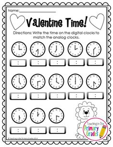Valentine Math and Literacy Printables- No Prep! First Grade Writing, Teaching First Grade, First Grade Math, Teaching Math, Teaching Ideas, Telling Time Activities, First Grade Activities, Math Activities, Math Lesson Plans