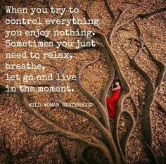 When you try to control everything you enjoy nothing. Sometimes you just need to relax, breathe, let go and live in the moment. WILD WOMAN SISTERHOOD #wildwoman #earthwoman #embracingthecircleoflife #EmbodyYourWildNature
